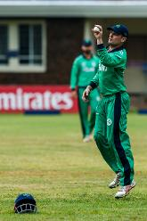 Ireland captain William Porterfield fields during a World Cup Qualifier Group A cricket match between United Arab Emirates and Ireland at Old Hararians Sports Club March 12 2018 (©ICC).