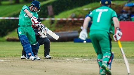 Ireland captain William Porterfield plays the ball during a Group A World Cup Qualifier cricket match between Papua New Guinea and Ireland at Harare Sports Club, March 12 2018 (©ICC).