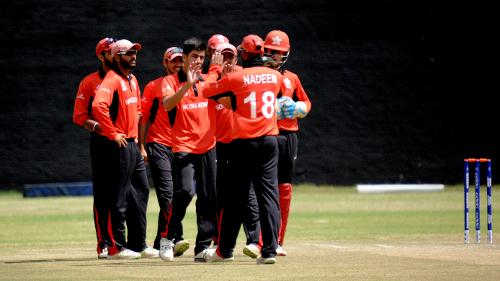Hong Kong celebrate the wicket of Nepal batsman Anil Sah in their last match of the Group B, ICC World Cup Qualifier at BAC in Bulawayo, Mar 12 2018 (©ICC).