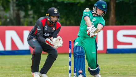 Irish captain William Porterfield drives the ball during a Group A World Cup Qualifier cricket match between United Arab Emirates and Ireland at Old Hararians Sports Club in Harare March 12 2018 (©ICC).