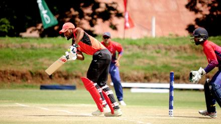 Hong Kong batsman Nizakat Khan plays a shot down the legside against Nepal in the last match of Group B, ICC World Cup Qualifier at BAC in Bulawayo, Mar 12 2018 (©ICC).