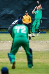 Ireland bowler Boyd Rankin bowls during a World Cup Qualifier Group A cricket match between United Arab Emirates and Ireland at Old Hararians Sports Club March 12 2018 (©ICC).