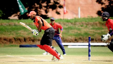 Hong Kong batsman Nizakat Khan takes a run against Nepal in the last match of Group B, ICC World Cup Qualifier at BAC in Bulawayo, Mar 12 2018 (©ICC).