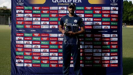 Safyaan Sharif of Scotland with his Player of the Match award during the ICC Cricket World Cup Qualifier between Zimbabwe and Scotland at Queens Sports Club on March 12, 2018 in Bulawayo, Zimbabwe (©ICC).