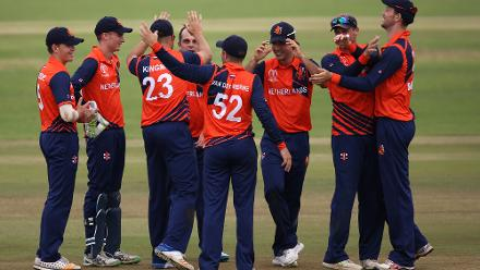 Netherlands players celebrate the wicket of Evin Lewis of The Windies during The ICC Cricket World Cup Qualifier between The Windies and The Netherlands at The Harare Sports Club on March 12, 2018 in Harare, Zimbabwe (©ICC).