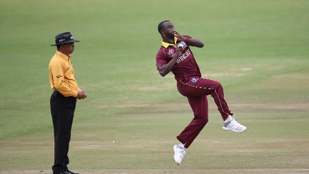 Kemar Roach of The Windies bowls during The ICC Cricket World Cup Qualifier between The Windies and The Netherlands at The Harare Sports Club on March 12, 2018 in Harare, Zimbabwe (©ICC).
