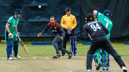 UAE captain Rohan Mustafa bowls during a group A World Cup Qualifier match between Papua New Guinea and the United Arab Emirates at Harare Sports Club March 12 2018 (©ICC).