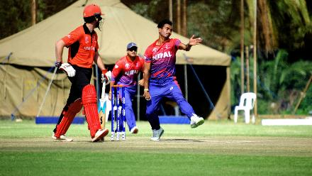 Nepal bowler Sompal Kami comes into bowl during their final Group B, ICC World Cup Qualifier at BAC in Bulawayo, Mar 12 2018 (©ICC).