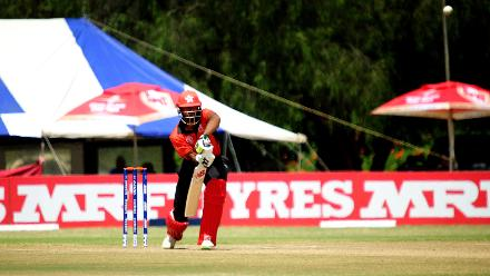 Hong Kong batsman Nizakat Khan gets ready to play a shot against Nepal in their final match of Group B, ICC World Cup Qualifier at BAC in Bulawayo, Mar 12 2018 (©ICC).