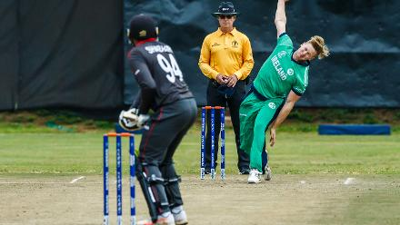 Ireland bowler Barry McCarthy in action during a World Cup Qualifier Group A cricket match between United Arab Emirates and Ireland at Old Hararians Sports Club March 12 2018 (©ICC).