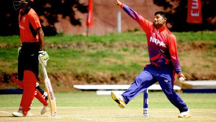 Nepal spin bowler Basant Regmi delivers against Nepal in the last match of Group B, ICC World Cup Qualifier at BAC in Bulawayo, Mar 12 2018 (©ICC).