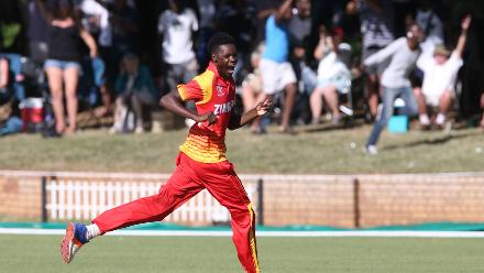 Blessing Muzarabani of Zimbabwe celebrates taking the last wicket of Brad Wheal (unseen) of Scotland during the ICC Cricket World Cup Qualifier between Zimbabwe and Scotland at QSC on March 12, 2018 in Bulawayo, Zimbabwe (©ICC).
