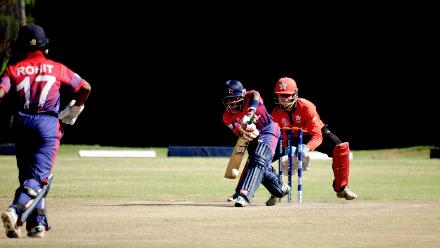 Nepal batsman Sompal Kami plays a block shot against Hong Kong in their last match of the Group B, ICC World Cup Qualifier at BAC in Bulawayo, Mar 12 2018 (©ICC).