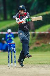UAE captain Rohan Mustafa pulls during a group A World Cup Qualifier match between Papua New Guinea and the United Arab Emirates at Harare Sports Club March 12 2018 (©ICC).