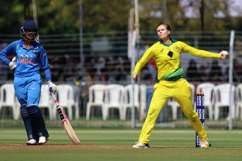 Jess Jonassen picked up four wickets in the first ODI against India