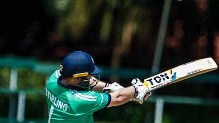 Ireland batsman Paul Stirling pulls the ball during a Group A World Cup Qualifier cricket match between United Arab Emirates and Ireland at Old Hararians Sports Club in Harare March 12 2018 (©ICC).