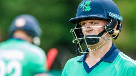 Irish captain William Porterfield walks off the pitch after missing out on a century during a Group A World Cup Qualifier cricket match between United Arab Emirates and Ireland at Old Hararians Sports Club in Harare March 12 2018 (©ICC).