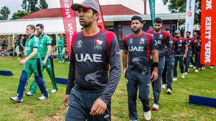 UAE captain Rohan Mustafa leads his team onto the pitch ahead of a Group A World Cup Qualifier cricket match between United Arab Emirates and Ireland at Old Hararians Sports Club in Harare March 12 2018 (©ICC).