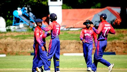 Nepal celebrate the wicket of Hong Kong batsman Nepal captain Paras Khadka during their final match of Group B, ICC World Cup Qualifier at BAC in Bulawayo, Mar 12 2018 (©ICC).