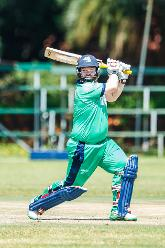 Ireland batsman Paul Stirling in action during a Group A World Cup Qualifier cricket match between United Arab Emirates and Ireland at Old Hararians Sports Club in Harare March 12 2018 (©ICC).