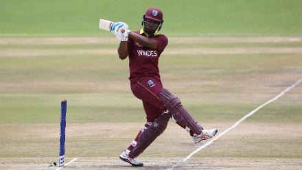 Evin Lewis of The Windies hits out during The ICC Cricket World Cup Qualifier between The Windies and The Netherlands at The Harare Sports Club on March 12, 2018 in Harare, Zimbabwe (©ICC).