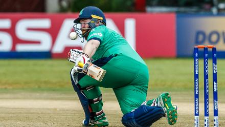 Irish batsman Paul Stirling sweeps during a Group A World Cup Qualifier cricket match between United Arab Emirates and Ireland at Old Hararians Sports Club in Harare March 12 2018 (©ICC).