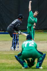 Ireland bowler Boyd Rankin in action during a World Cup Qualifier Group A cricket match between United Arab Emirates and Ireland at Old Hararians Sports Club March 12 2018 (©ICC).
