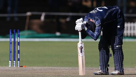 Michael Leask of Scotland reacts after the ICC Cricket World Cup Qualifier between Zimbabwe and Scotland at Queens Sports Club on March 12, 2018 in Bulawayo, Zimbabwe (©ICC).