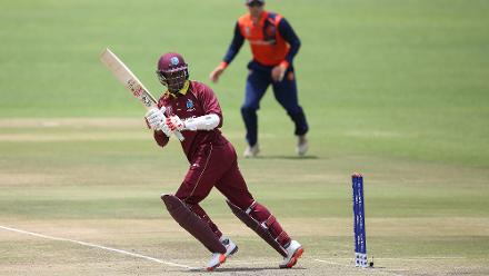 Marlon Samuels of The Windies scores runs during The ICC Cricket World Cup Qualifier between The Windies and The Netherlands at The Harare Sports Club on March 12, 2018 in Harare, Zimbabwe (©ICC).
