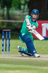 Irish captain William Porterfield drives during a Group A World Cup Qualifier cricket match between United Arab Emirates and Ireland at Old Hararians Sports Club in Harare March 12 2018 (©ICC).