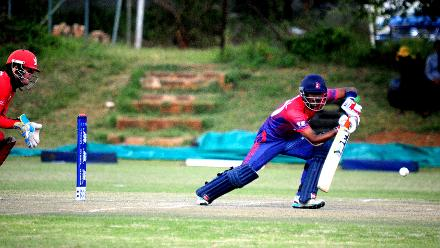 Nepal batsman Rohit Paudel plays a cover drive against Hong Kong in the last match of the Group B, ICC World Cup Qualifier at BAC in Bulawayo, Mar 12 2018 (©ICC).