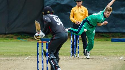 Ireland bowler Barry McCarthy follows through during a World Cup Qualifier Group A cricket match between United Arab Emirates and Ireland at Old Hararians Sports Club March 12 2018 (©ICC).