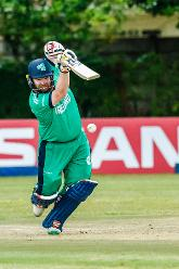 Irish batsman Paul Stirling drives down the ground during a Group A World Cup Qualifier cricket match between United Arab Emirates and Ireland at Old Hararians Sports Club in Harare March 12 2018 (©ICC).