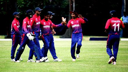 Nepal celebrate the wicket of Hong Kong captain Babar Hayat inthe final match of their Group B, ICC World Cup Qualifier at BAC in Bulawayo, Mar 12 2018 (©ICC).