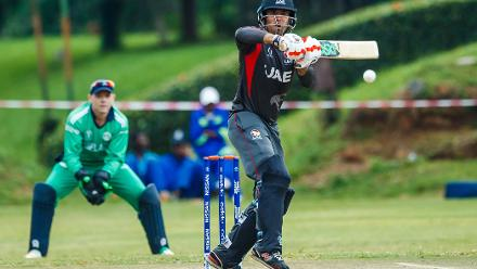 UAE captain Rohan Mustafa plays a shot during a group A World Cup Qualifier match between Papua New Guinea and the United Arab Emirates at Harare Sports Club March 12 2018 (©ICC).