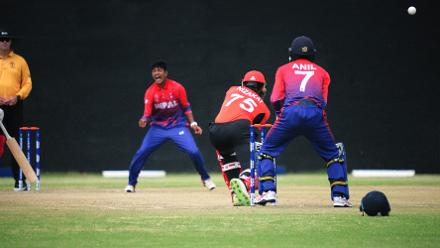 Hong Kong batsman successfuliy survives an LBW appeal by Nepal in the last match of their Group B, ICC World Cup Qualifier at BAC in Bulawayo, Mar 12 2018 (©ICC).