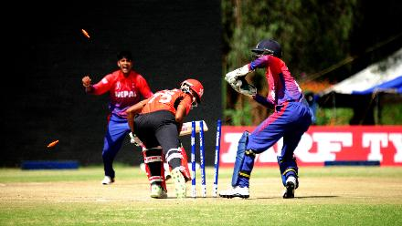 Hong Kong batsman Nizakat Khan survives a stumping appeal by Nepal team during the final match of Group B, ICC World Cup Qualifier at BAC in Bulawayo, Mar 12 2018 (©ICC).