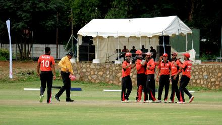 Hong Kong celebrate a wicket during the final match of Group B, ICC World Cup Qualifier at BAC in Bulawayo, Mar 12 2018 (©ICC).
