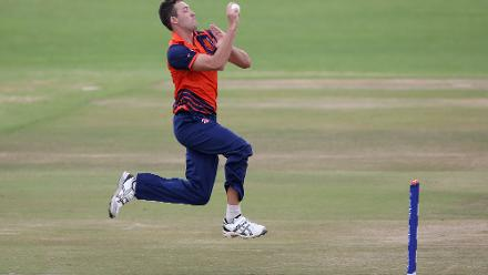 Paul van Meekeren of The Netherlands bowls during The ICC Cricket World Cup Qualifier between The Windies and The Netherlands at The Harare Sports Club on March 12, 2018 in Harare, Zimbabwe (©ICC).