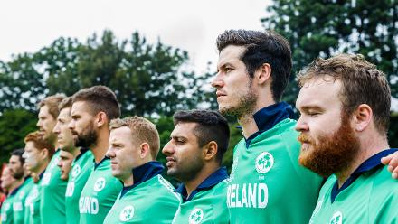 Irish players stand during the singing of their national anthem ahead of a Group A World Cup Qualifier cricket match between United Arab Emirates and Ireland at Old Hararians Sports Club in Harare March 12 2018 (©ICC).