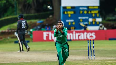 Ireland bowler Simi Singh fields during a World Cup Qualifier Group A cricket match between United Arab Emirates and Ireland at Old Hararians Sports Club March 12 2018 (©ICC).