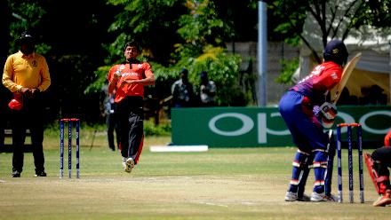 Hong Kong bowler Aizaz Khan delivers the ball against Nepal during their last match of Group B, ICC World Cup Qualifier at BAC in Bulawayo, Mar 12 2018 (©ICC).