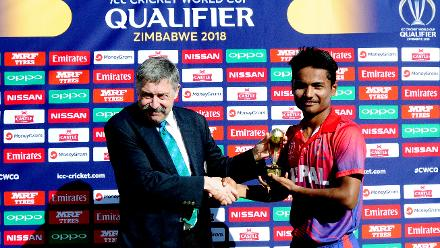 Nepal's Rohit Paudel was awarded the player of the match award for his impressive displays with the bat scoring 48 runs off 86 balls, Group B, ICC World Cup Qualifier at BAC in Bulawayo against Hong Kong, Mar 12 2018 (©ICC).