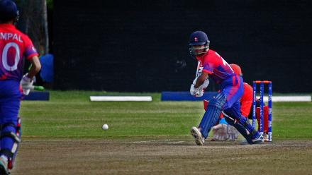 Nepal Rohit Paudel plays a shot against Hong Kong in their last match of the Group B, ICC World Cup Qualifier at BAC in Bulawayo, Mar 12 2018 (©ICC).
