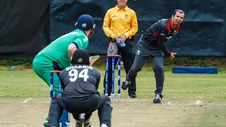 UAE captain Rohan Mustafa in action during a group A World Cup Qualifier match between Papua New Guinea and the United Arab Emirates at Harare Sports Club March 12 2018 (©ICC).