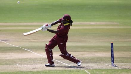 Chris Gayle of The Windies hits out during The ICC Cricket World Cup Qualifier between The Windies and The Netherlands at The Harare Sports Club on March 12, 2018 in Harare, Zimbabwe (©ICC).
