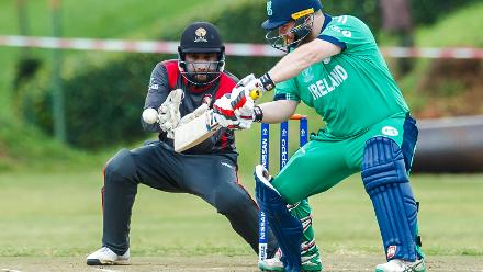 Ireland batsman Paul Stirling in action as wicket keeper Ghulam Shabbir looks on during a Group A World Cup Qualifier cricket match between United Arab Emirates and Ireland at Old Hararians Sports Club in Harare March 12 2018 (©ICC).