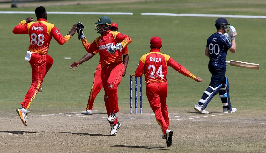 Tom Sole trudges off during Scotland's thrilling tie against Zimbabwe