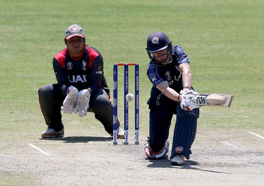 Matthew Cross (R) of Scotland during the ICC Cricket World Cup Qualifier between Scotland v UAE at Queens Sports Club on March 15, 2018 in Bulawayo, Zimbabwe (©ICC).