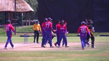 Chad Soper dismissed lbw by Sandeep Lamichhane